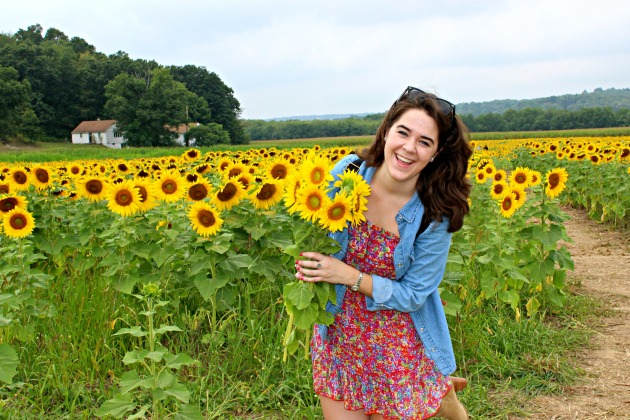 Me and my freshly picked sunflowers!